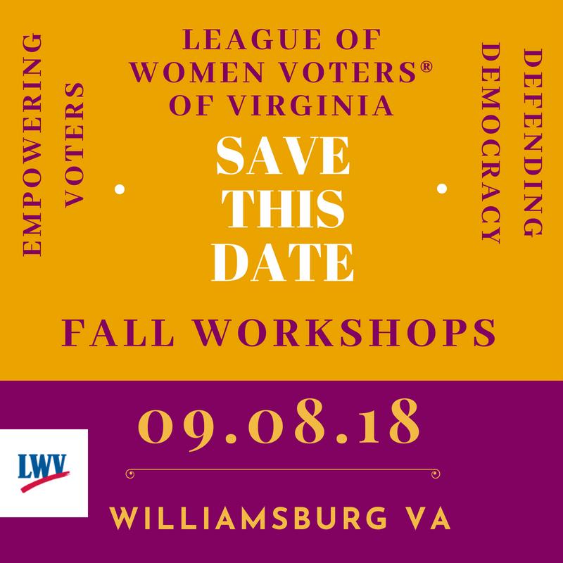 LWV-VA 2018 Fall Workshops