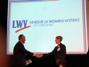 Brian Cannon of OneVirginia2021 & Deb Wake, President LWV-VA